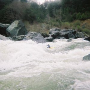 Ikes (falls?), Klamath River, CA  This is the second drop of three at somewhere above 10,000 cfs.  March, 2003